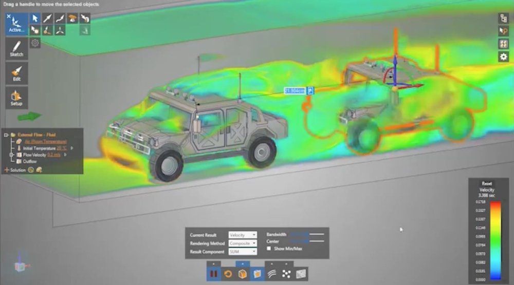 Observing the airflow of a vehicle convoy in real time with ANSYS Discovery Live