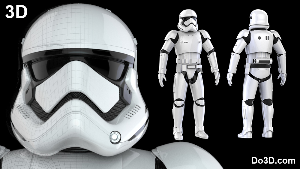 3D Printable Model of Stormtrooper First Order Costume Armor from Star Wars VII: The Force Awakens Full Body Armor Suit