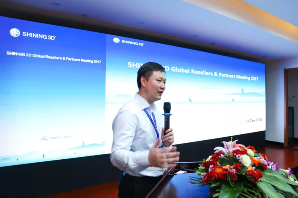 Shining 3D CEO Li Tao kicks off the international reseller event in Hangzhou, China. (Image courtesy of Shining 3D.)