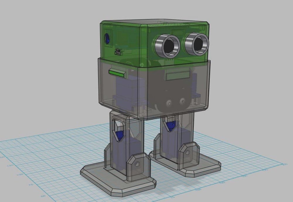3D CAD view of Otto, a DIY robot project