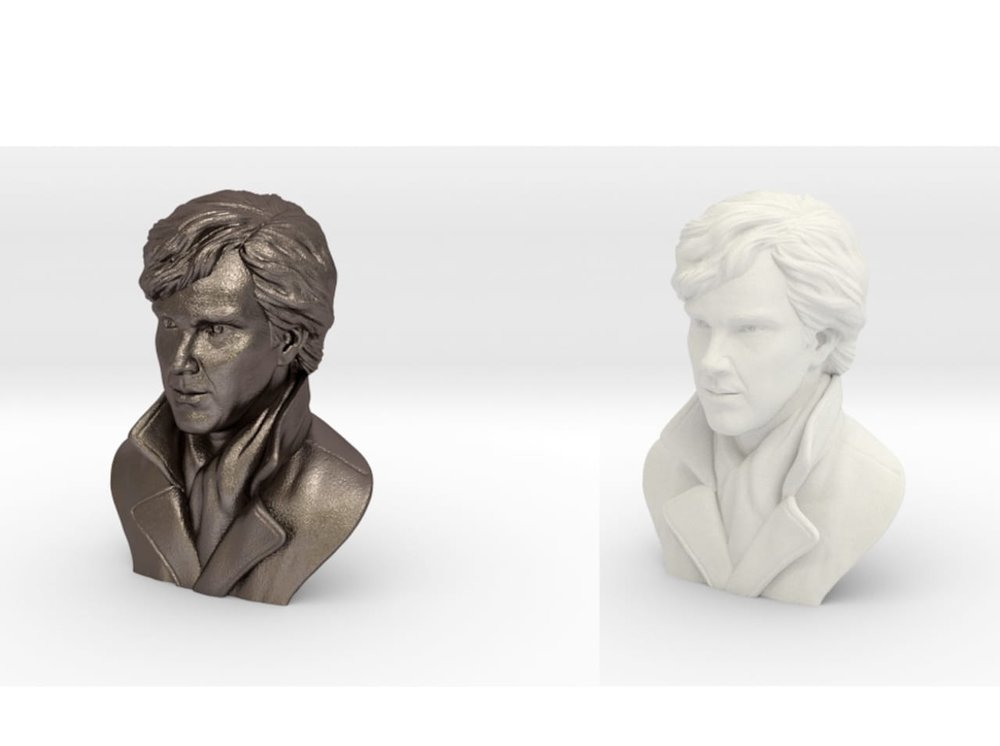 Benedict Cumberbatch in stainless steel (left) and standard nylon (right)