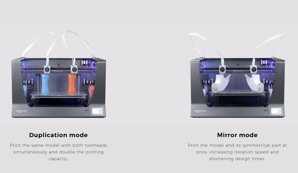 The two modes usable on the new BCN3D Sigmax large format desktop 3D printer