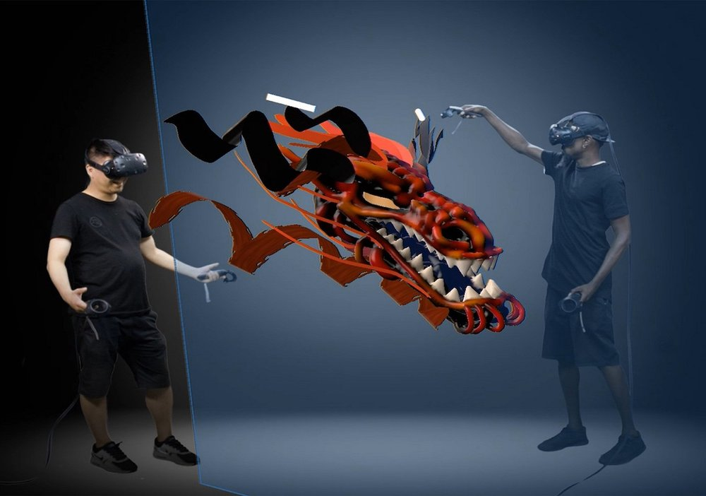 Creating a 3D model collaboratively in virtual reality