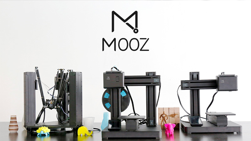 The three models of Mooz transformable 3D printers, Mooz-3, Mooz-2 and Mooz-1
