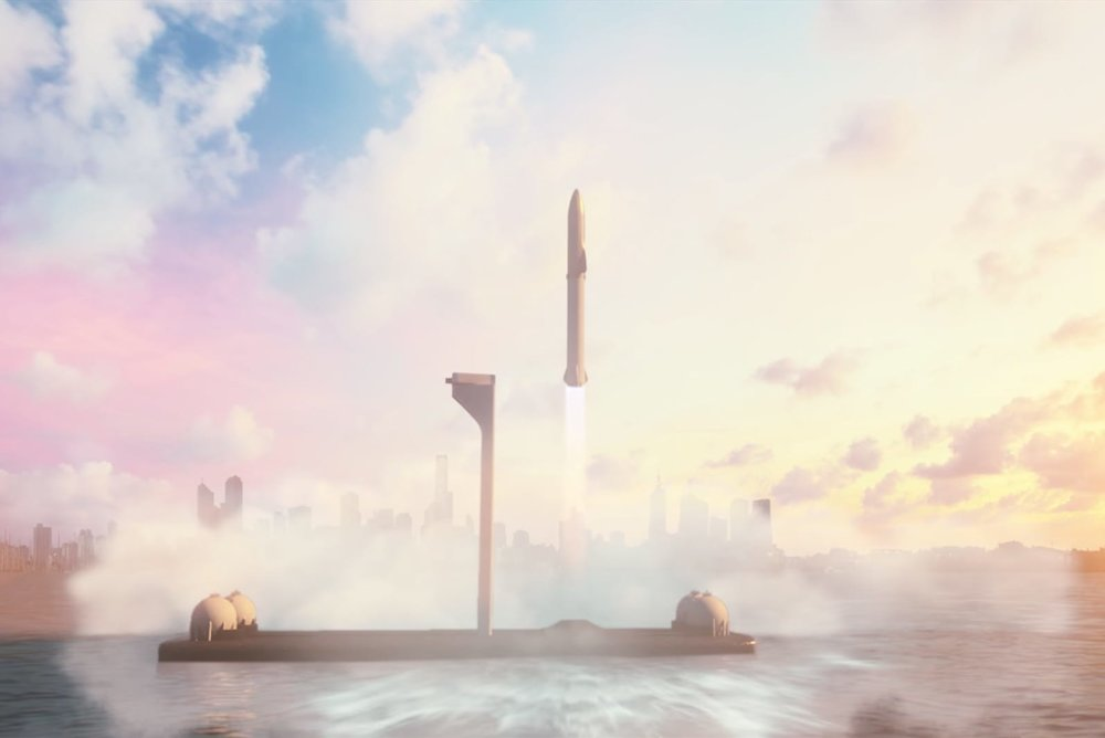 SpaceX's proposed gigantic BFR transport lifting off, and some of it will be 3D printed