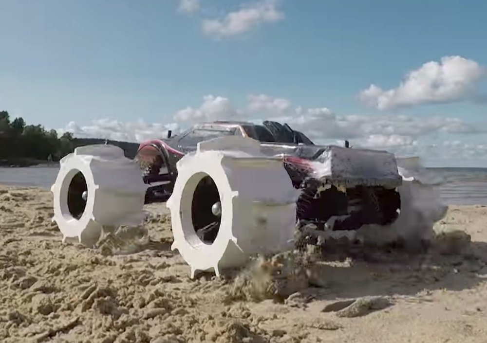 An RC car with 3D printed wheels that can race across water