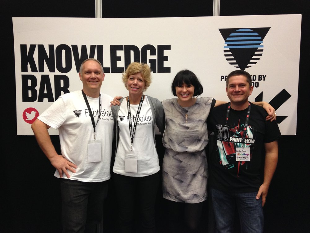 At the 3D Print Show. Kerry Stevenson, Marney Stapley, Kerry Marks and Richard H (@RichRap3D)