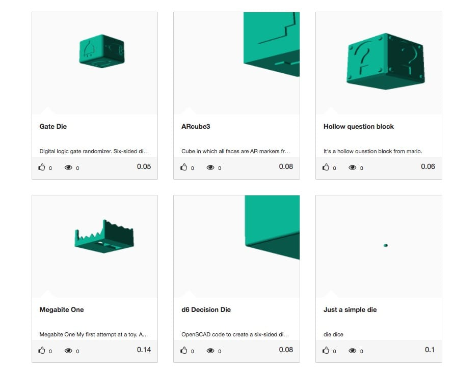 "Results from a ""3D visual"" search for a cube 3D model"