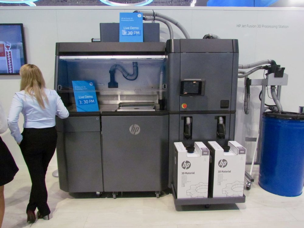 HP's MJF 3D printing system on display