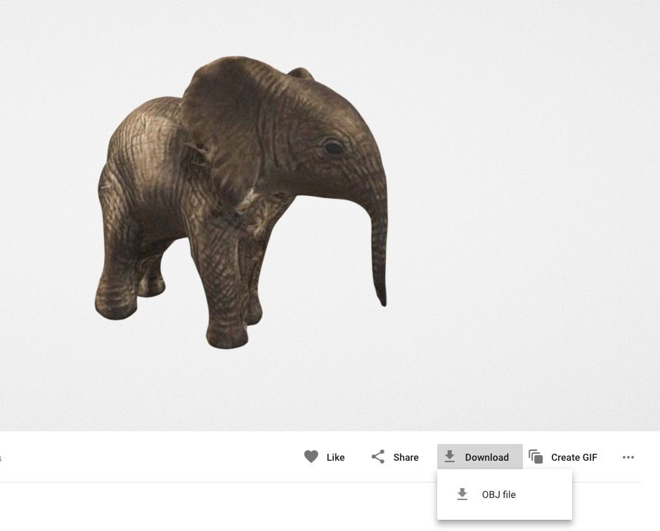 A Qlone-3D scanned color elephant 3D model found in Google Poly; Note the download button at bottom right