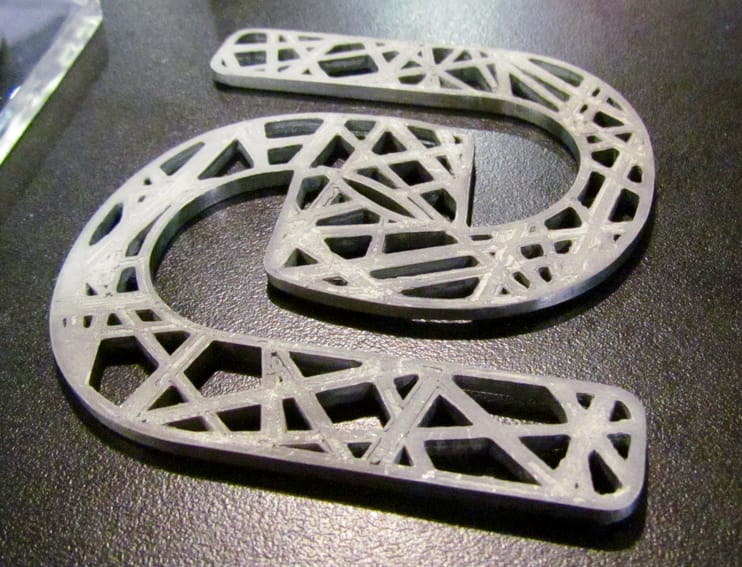 A 3D printed metal part using one of the many processes described here