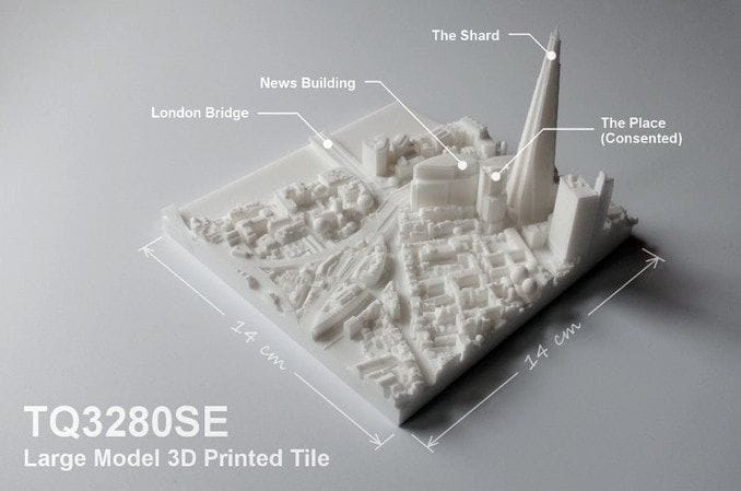 A sample tile from the 3D printed London collection by Accucities