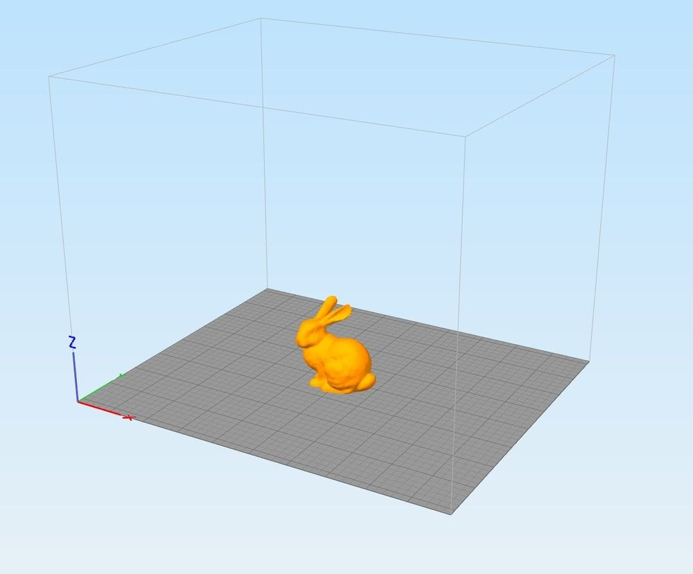 A 3D model automatically placed into Simplify3D by Meshmixer