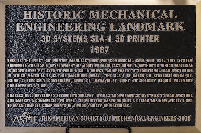 Plaque commemorating the first commercial 3D printer from 1987 at 3D Systems