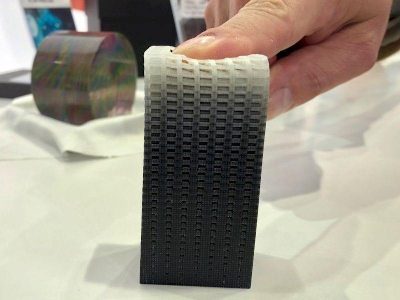 "A 3D printed object with a continuous ""flexibility gradient"""