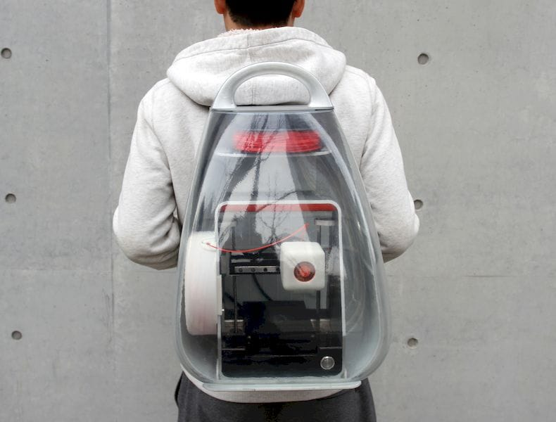 The custom-designed backpack for the truly portable Migo 3D printer