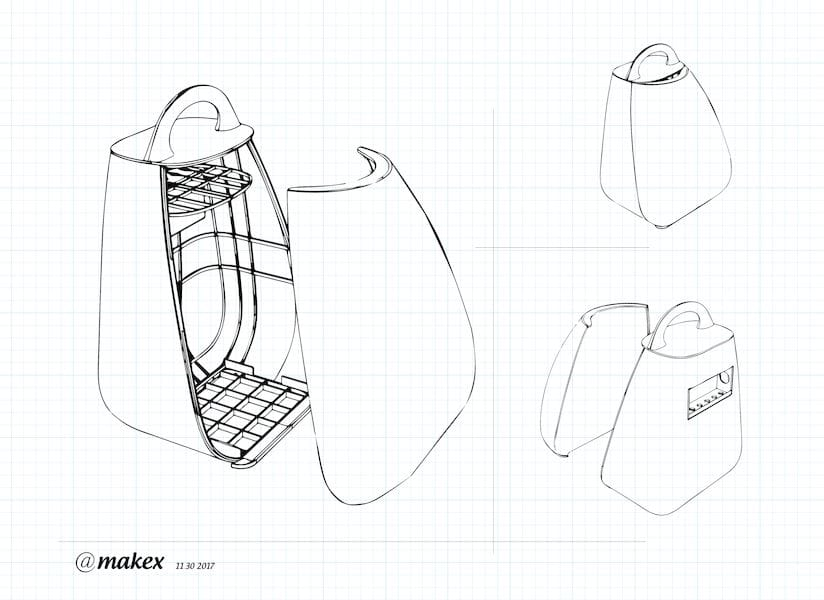 Design sketch of the Migo 3D printer's custom backpack system