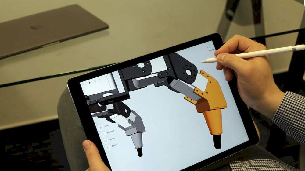 Shapr3D's parasolid 3D modeling on a tablet