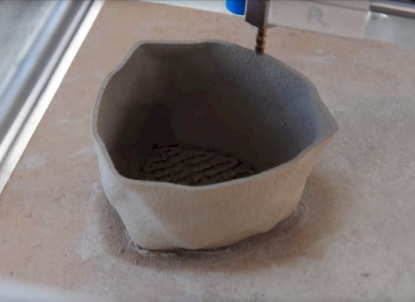 A ceramic 3D print made with StoneFlower's ceramic extrusion system