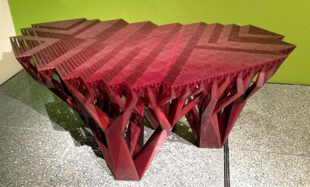 A 3D printed table with intricate design