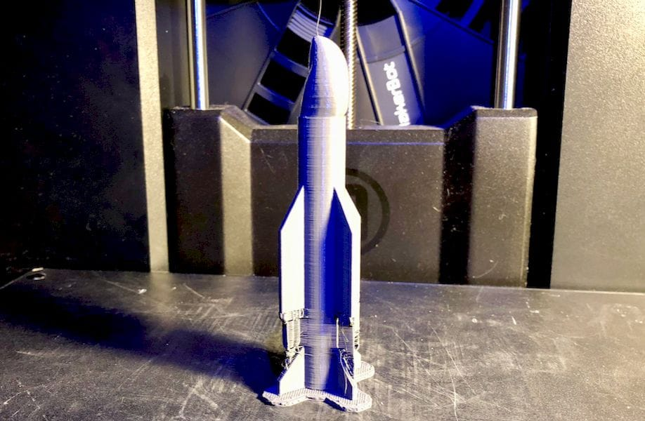 A freshly 3D printed Missile Toe, still with support structures attached