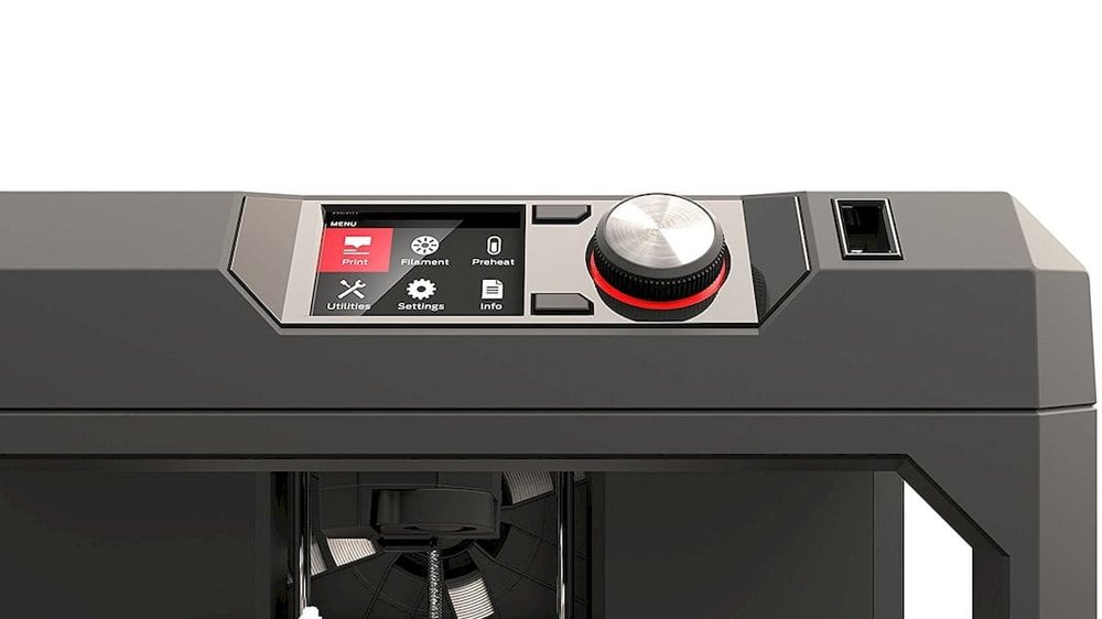 The control panel on the MakerBot Replicator 5th Gen desktop 3D printer