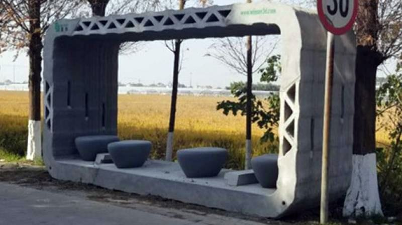 A 3D printed bus shelter