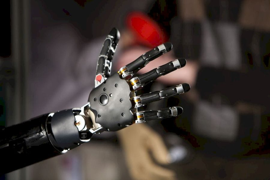 A brain-controlled 3D printed prosthetic arm (Courtesy Wikimedia)