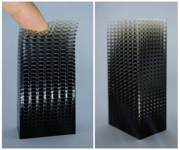 Fig 5. Functionally graded lattice structure produced on the Stratasys J750 with GradCAD Voxel Print.