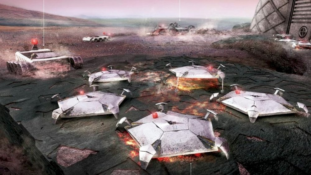Proposed Martian 3D building printer swarm