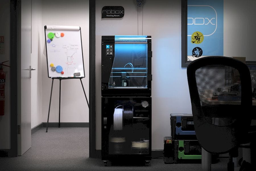 The new RoboxPRO professional desktop 3D printer from CEL on top of the filament dry box