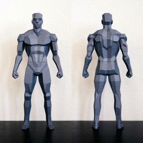 Front and back profile of the Low Poly Figure