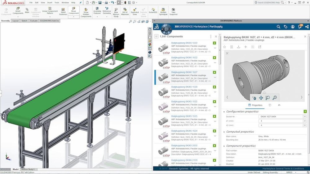 "Solidworks' ""Part Supply"" allows direct integration of part catalogs into your 3D design"