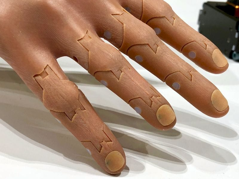 Even the nails on this 3D printed prosthetic arm are customizable. Just paint them!