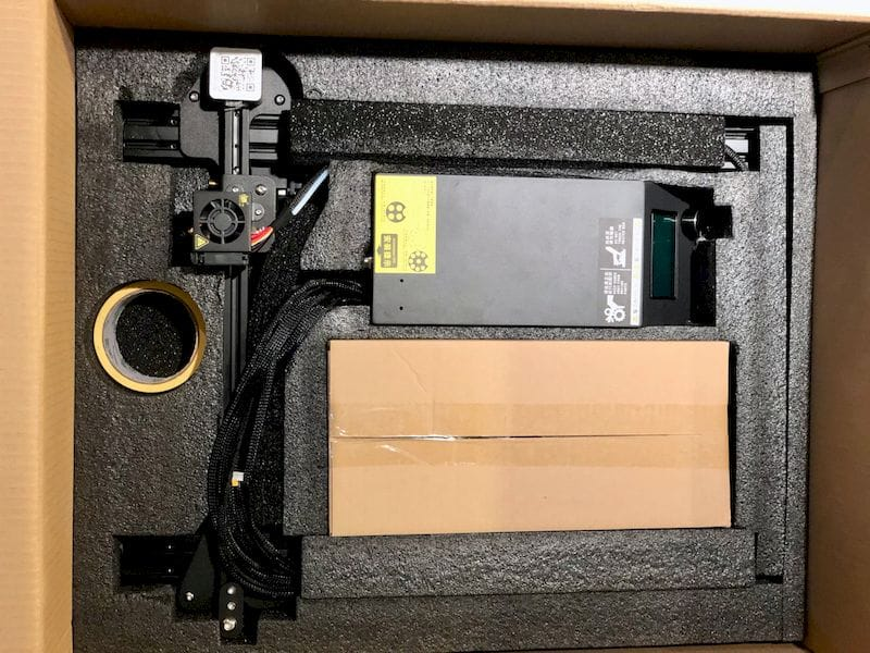 A neatly flat-packed the Creality CR-10S desktop 3D printer