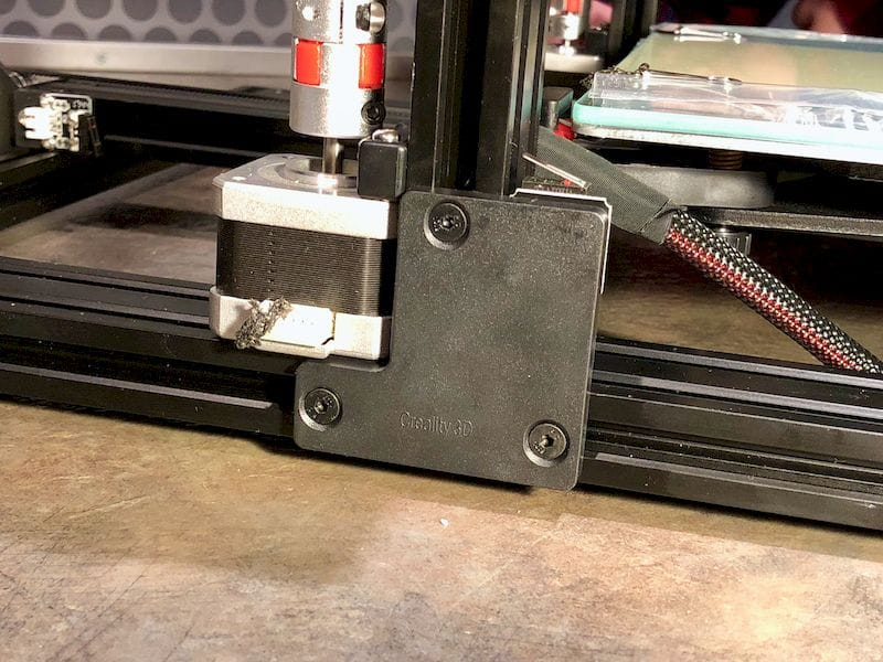 Assembling the XY and Z axes on the Creality CR-10S desktop 3D printer. This is the end stop bracket