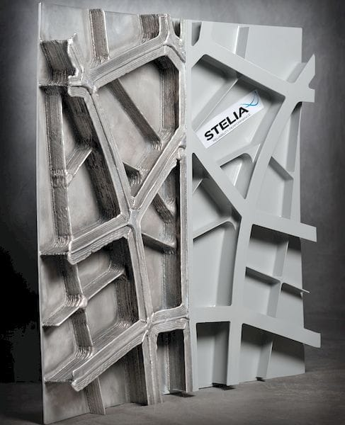 An aircraft fuselage panel with 3D printed reinforcements