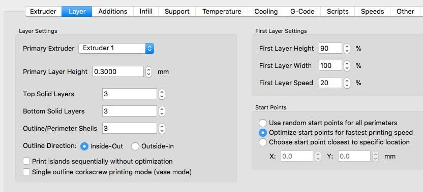Checking all the 3D printing parameters in Simplify3D
