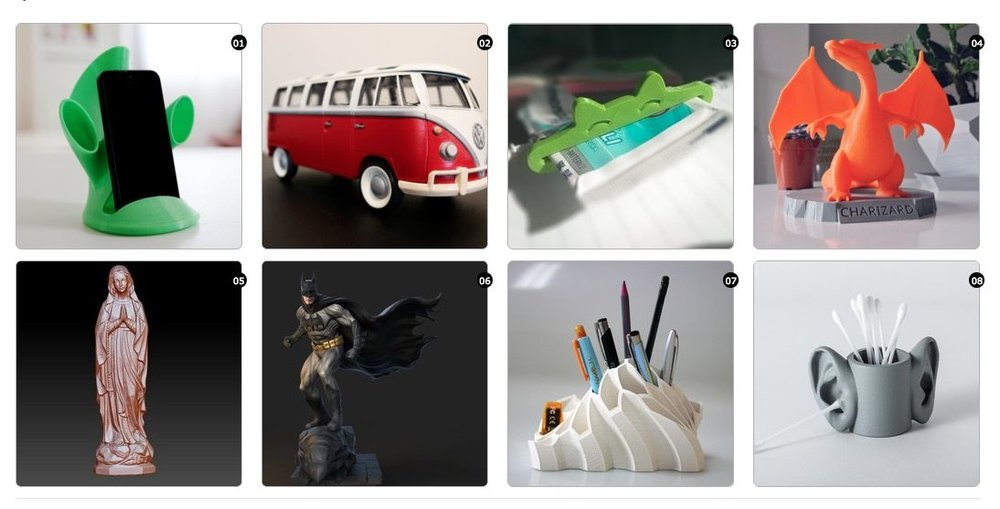 Some 3D printable items available from La Poste