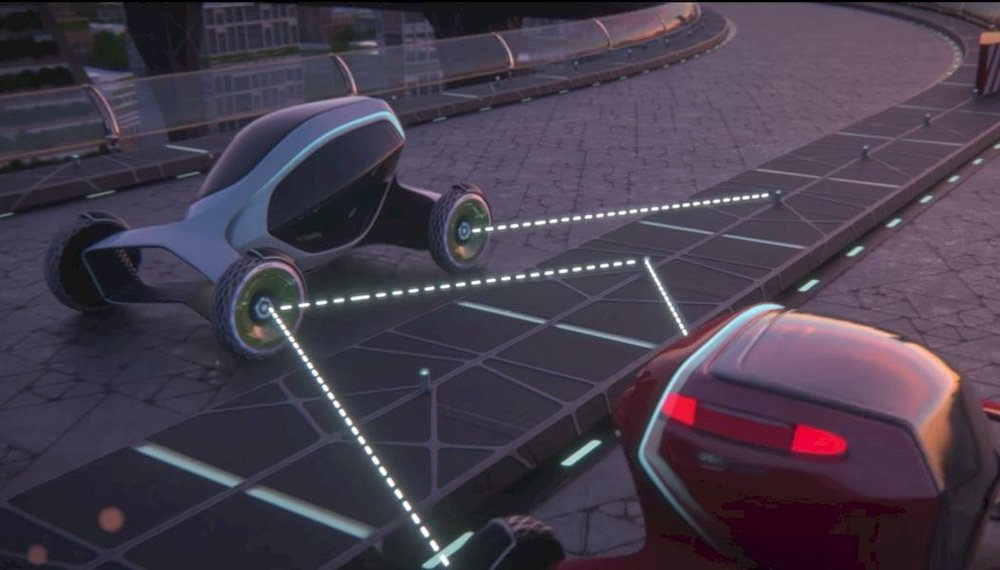 Goodyear's Oxygene tire communicating with the road and other tires via LiFi