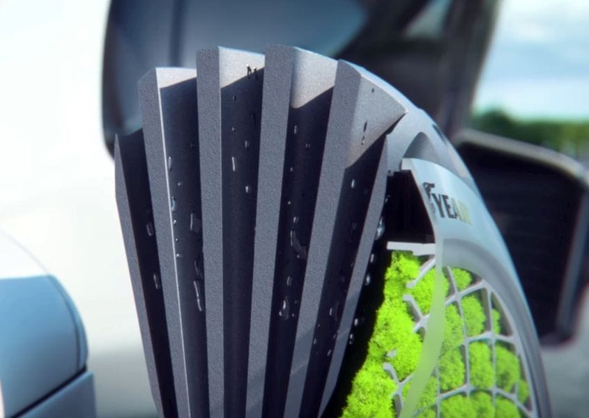 Channels directing water to on-board moss on Goodyear's 3D printed Oxygene tire