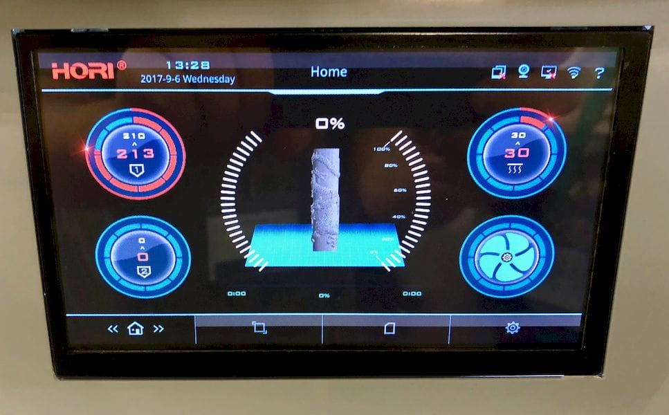 The touch control screen on one of HORI's several industrial 3D printers