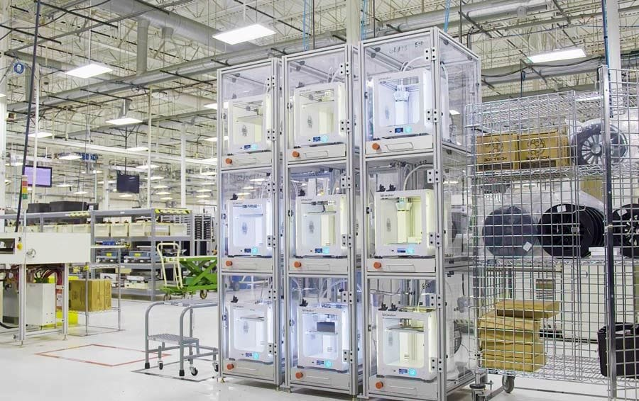 An array of Ultimaker 3D printers making tooling