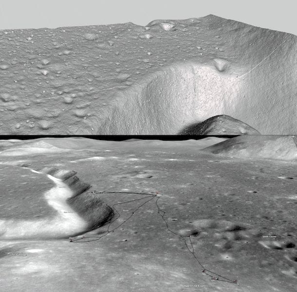 The Apollo 15 site in 3D model form (top) and a reference map of the region courtesy Google Moon (bottom)