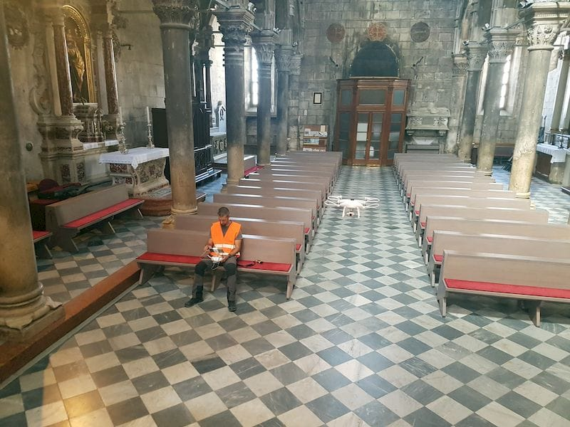 Prepping a 3D scanning drone inside the Šibenik Cathedral