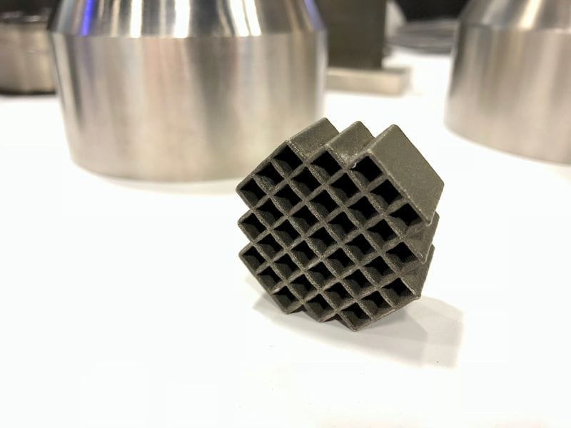 A sample 3D printed metal segment from a nuclear waste container made by Additec
