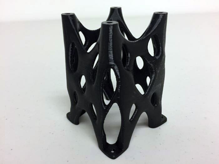 Object 3D printed in Rize's new black material