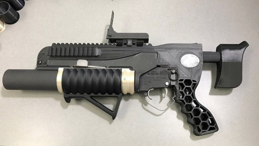 The Army's 3D printed grenade launcher, R.A.M.B.O. Photo by Sunny Burns, ARDEC/U.S. Army