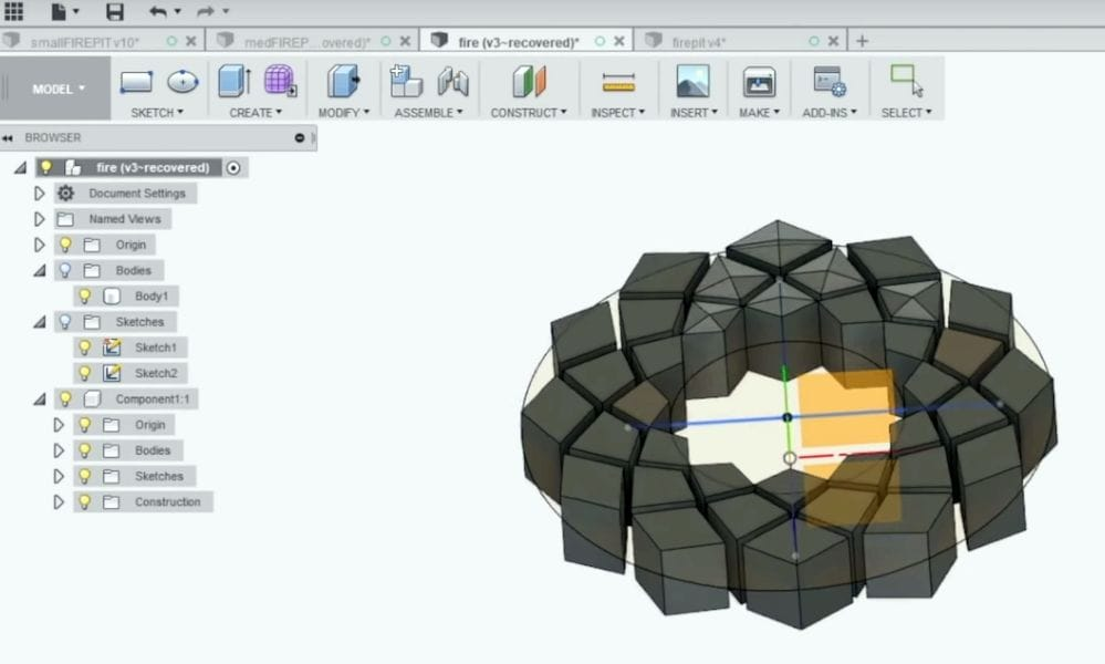 Designing the 3D printed concrete firepit in Autodesk Fusion 360