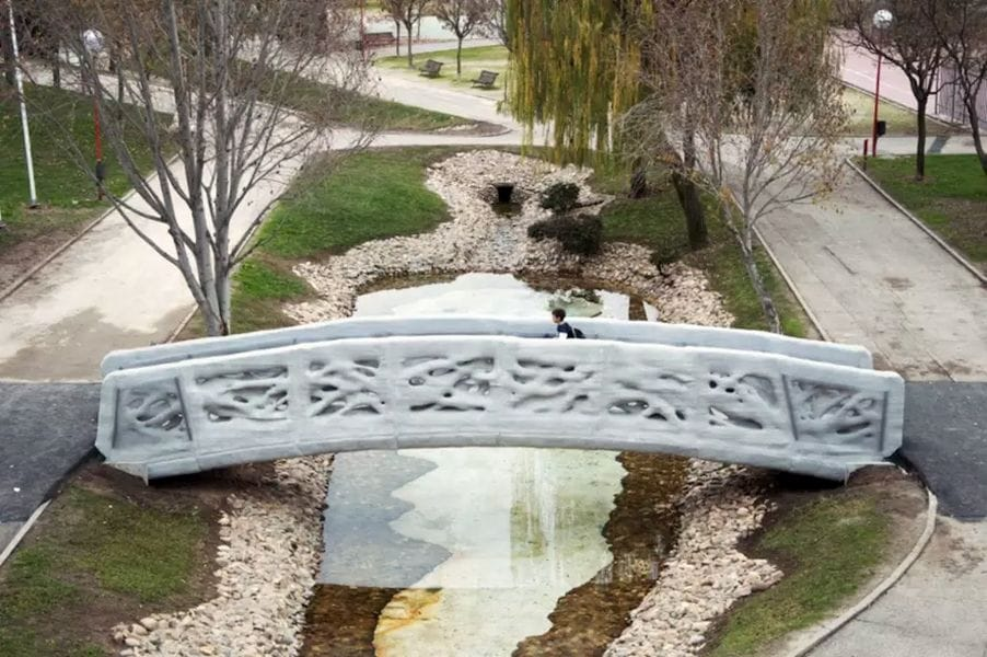 A bridge 3D printed by ACCIONA and the Institute of Advanced Architecture of Catalonia in Spain. (Image courtesy of the Institute of Advanced Architecture of Catalonia.)